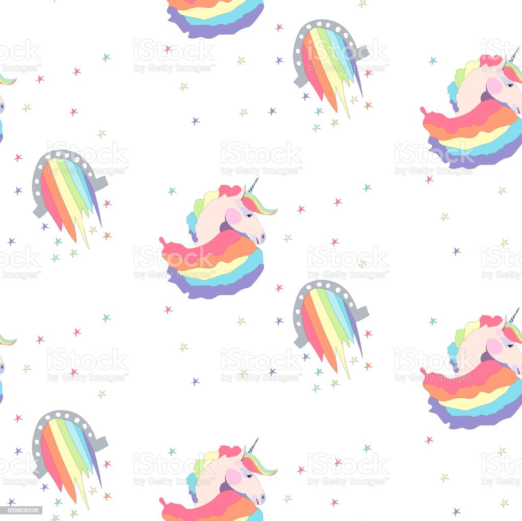 Bright beautiful lovely cute fairy magical colorful unicorns and rainbows pattern vector illustration. Perfect for greeting and birthday card, wedding, invitation, textile design vector art illustration