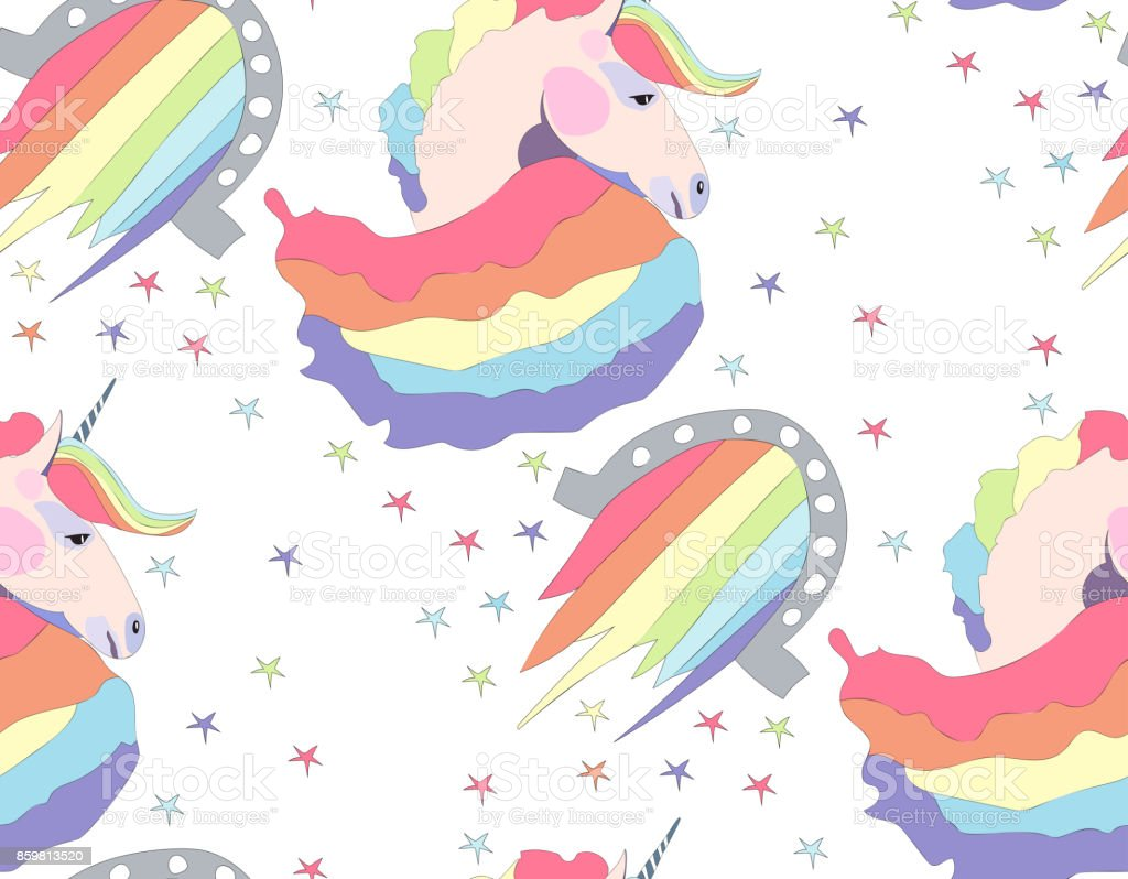 Bright beautiful lovely cute fairy magical colorful unicorns and rainbows pattern vector illustration vector art illustration