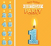 Juvenile Birthday Card vertical Template With a number one candle with flame at the bottom of a diagonal striped orange pattern background. The numbers are blue with white polka dots.  The text is above the number five candle. There are zero to nine number Candles on the left of card.