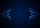 Bright blue abstract neon arrows tech graphic design. Futuristic laser sci-fi vector background