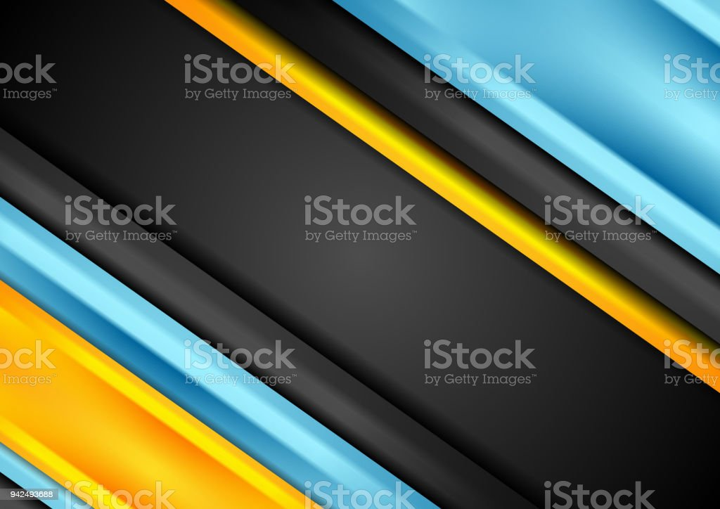 Bright blue and orange stripes corporate background vector art illustration