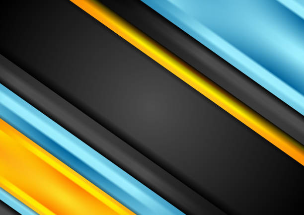 Bright blue and orange stripes corporate background vector art illustration