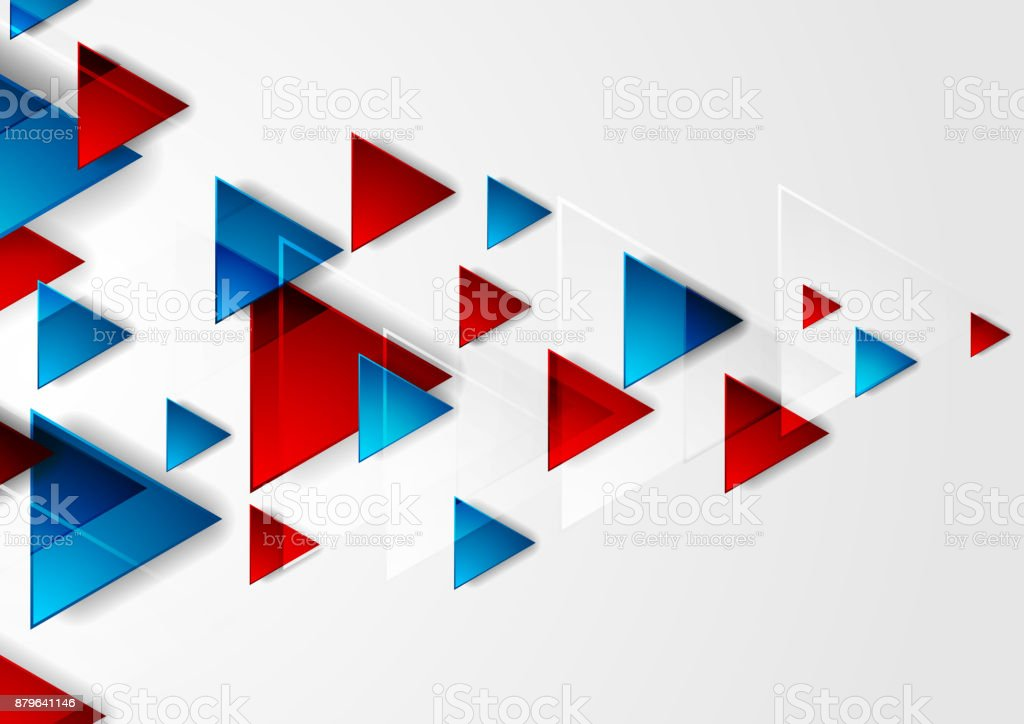 Bright blue and red tech triangles background vector art illustration