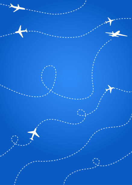Bright blue Cover for the airline's annual report or booklet. Bright blue Cover for the airline's annual report or booklet. With dotted lines of aircraft flights. It symbolizes the Movement of different flights of aircraft. airport patterns stock illustrations