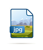 Bright blue file icon with JPG extension isolated on white