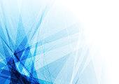 Bright blue geometric shapes tech background. Vector design