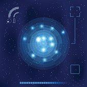 Bright blue radar screen