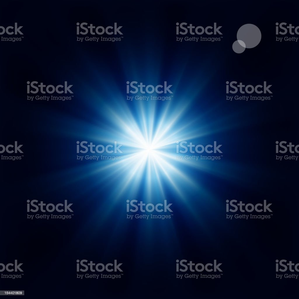 Bright blue star black background vector art illustration
