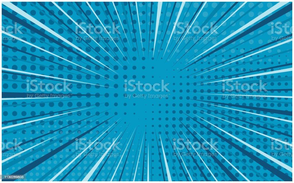 Bright Blue Striped Retro Comic Background Stock