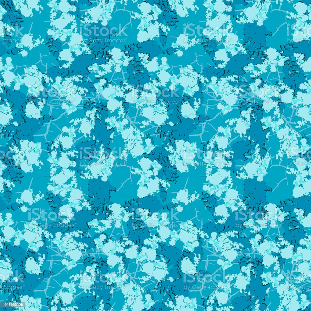 Bright blue winter camouflage with stains and cracks vector art illustration
