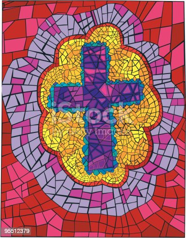 istock Bright Bordered Mosaic Cross 95512379