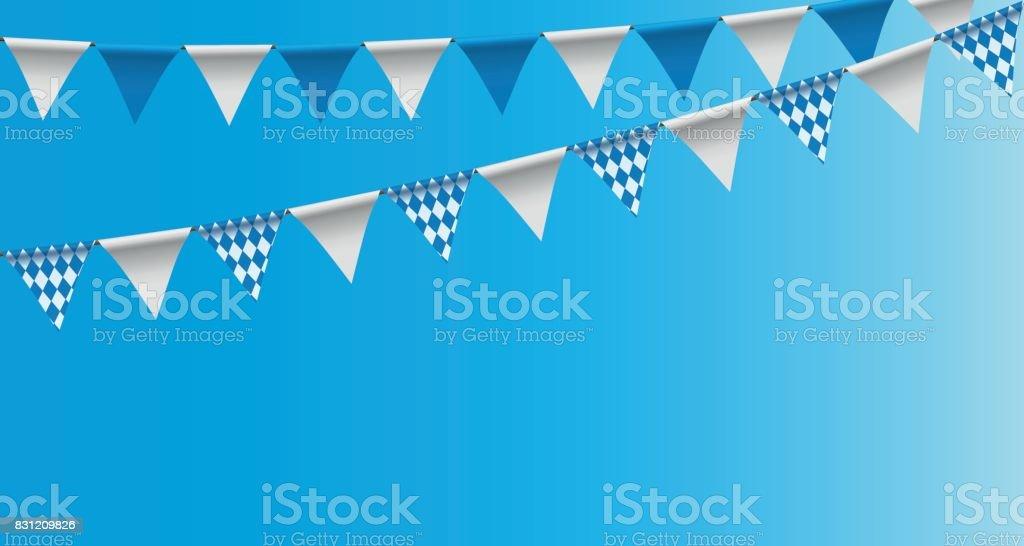 Hellen Ammern Girlanden mit Raute Muster, Girlande Festoon, Hintergrund, dekoriert in den traditionellen Farben von Bayern – Vektorgrafik