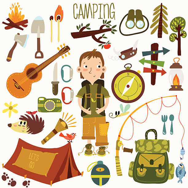 Bright Camping Equipment Icon Set In Vector With Boy Art Illustration