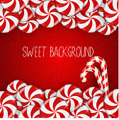 Bright Candy on red background
