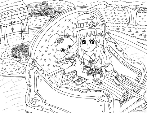 Bright Cartoon Character Anime Style Girl Bunny Rabbit and Young Girl Riding Carriage Together Children's Coloring Page Vector 2021