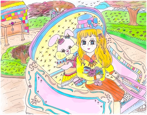 Bright Cartoon Character Anime Style Girl Bunny Rabbit and Young Girl Riding Carriage Together Children's Illustration Vector 2021