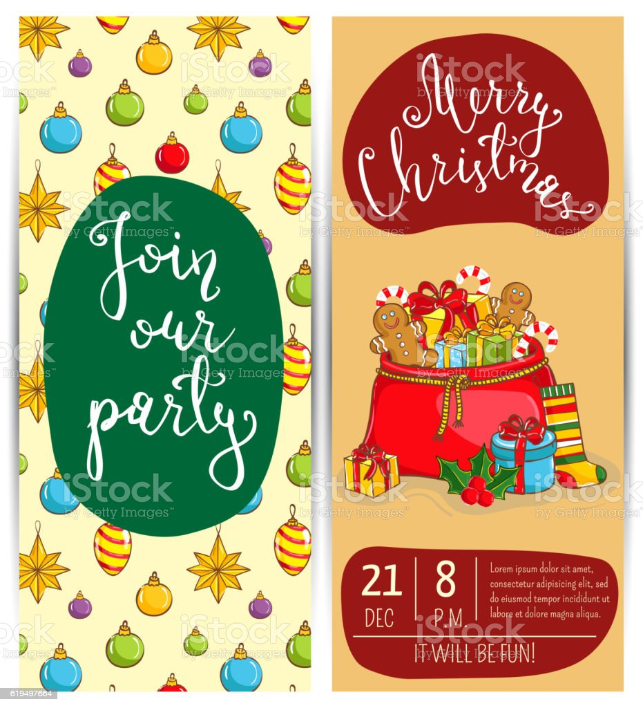 Bright Cartoon Invitation On Christmas Fun Party stock vector art ...