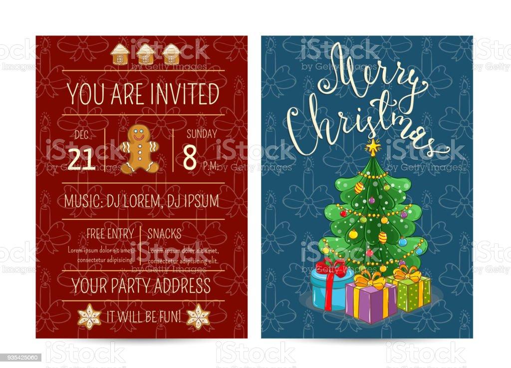 Weihnachtsfeier Rede Lustig.Helle Cartoon Einladung Auf Lustige Weihnachtsfeier Stock Vektor Art
