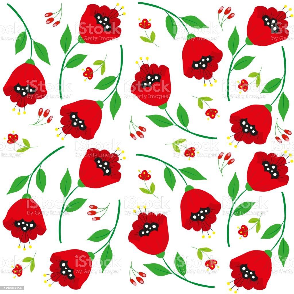Bright Cartoon Poppy Flowers On White Stock Vector Art More Images