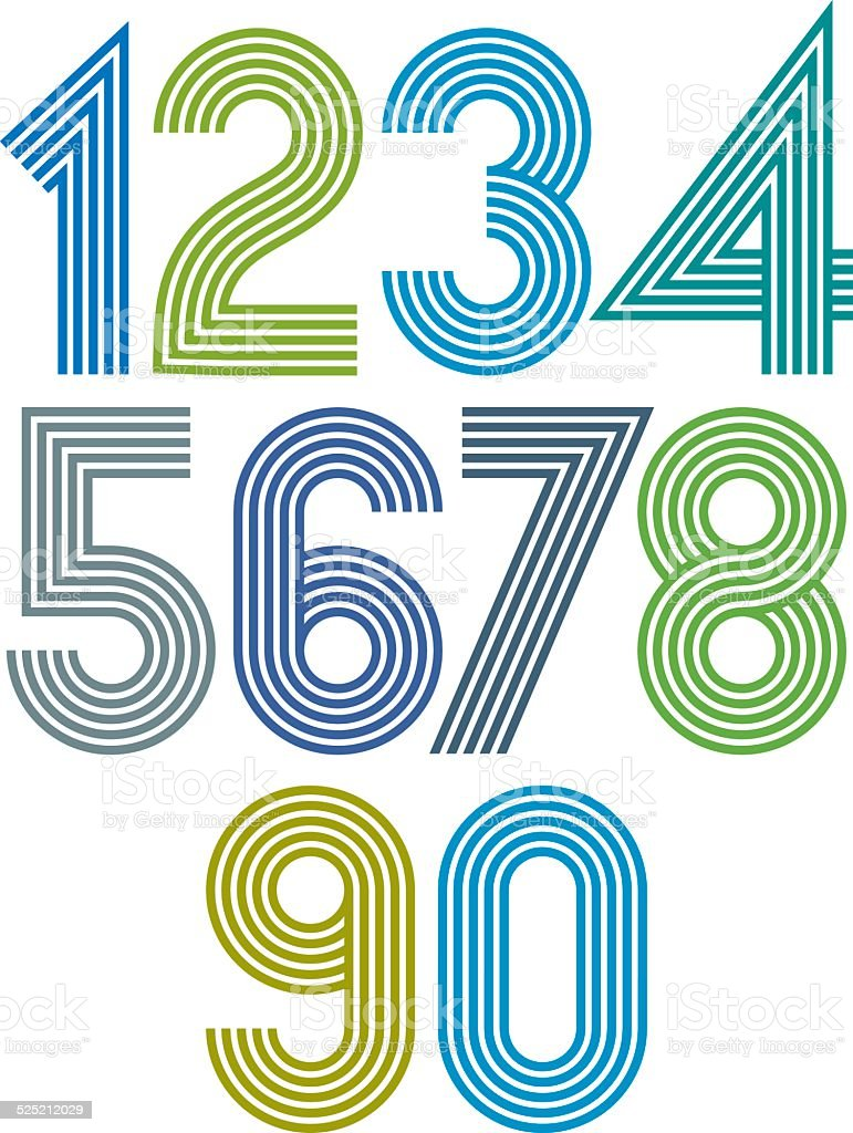 Bright cartoon striped numbers with rounded corners. vector art illustration