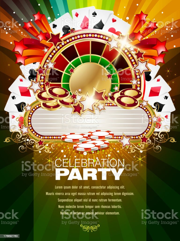 Bright Casino Background with Marquee vector art illustration