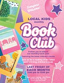 Bright Style Children's Book Club Poster.  There is an assortment of books on the side with a big section for text. Includes star ornaments and balloons. Several layers for easier editing. Bright pink and purple background with hearts.