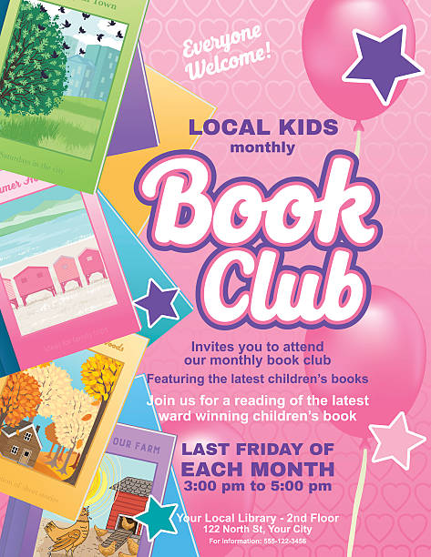 Bright Children's Book Club Poster Template Bright Style Children's Book Club Poster.  There is an assortment of books on the side with a big section for text. Includes star ornaments and balloons. Several layers for easier editing. Bright pink and purple background with hearts. book club stock illustrations