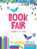 Bright Style Children's Book Fair or Book Club Poster.  There is a stack of books with a cute cartoon bird and lots of room for text. Bright and colorful with triangles on white background.