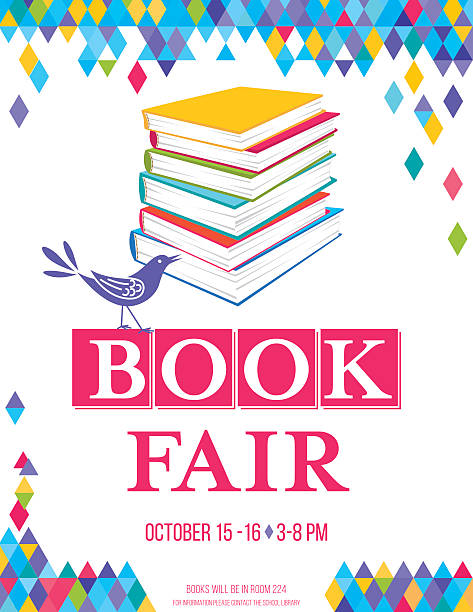 Bright Children's Book Fair Poster Template Bright Style Children's Book Fair or Book Club Poster.  There is a stack of books with a cute cartoon bird and lots of room for text. Bright and colorful with triangles on white background. book club stock illustrations