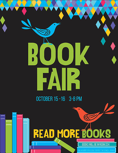 Bright Children's Book Fair Poster Template Bright Style Children's Book Fair or Book Club Poster.  There is a stack of books with a cute cartoon bird and lots of room for text. Bright and colorful with triangles on black background. book borders stock illustrations