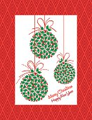 Bright Christmas Party Invitation With Holly Ornaments