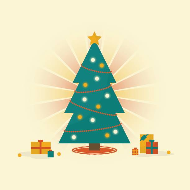 A Bright Christmas Tree With Presents Underneath Vector Art Illustration