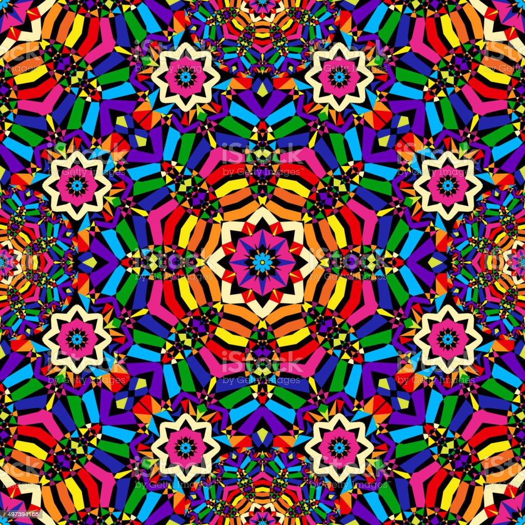 bright circular seamless kaleidoscope pattern vector art illustration