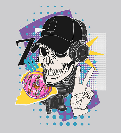"""Bright collage with human skull in cap and headphones, donut and hand gesture """"everything is cool!"""""""