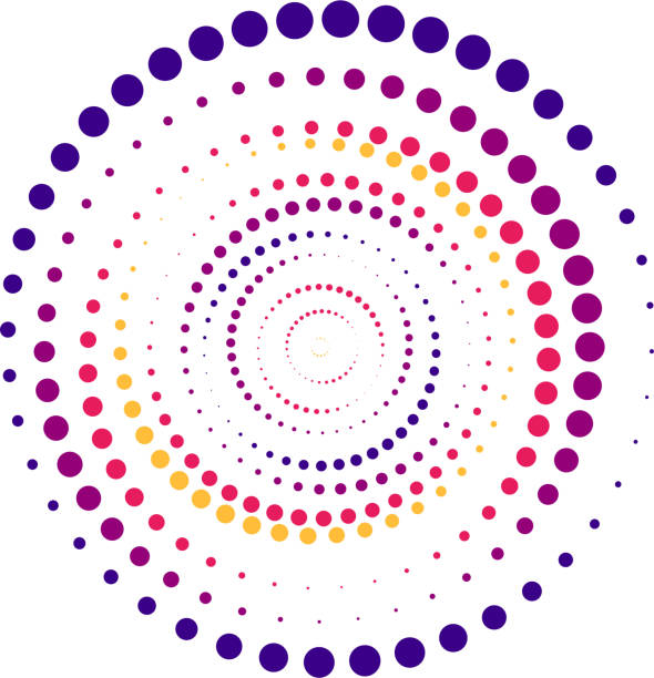 illustrazioni stock, clip art, cartoni animati e icone di tendenza di sfondo astratto a colori vivaci in stile minimalista realizzato con cerchi colorati. concetto aziendale per la decorazione di copertina di brochure, volantino o report - motivo concentrico