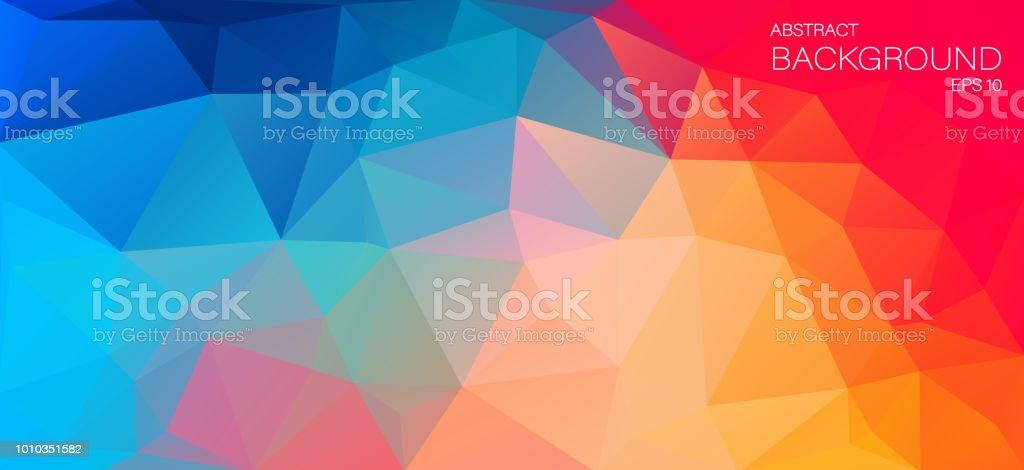 Fondo plano de Color brillante con triángulos - ilustración de arte vectorial