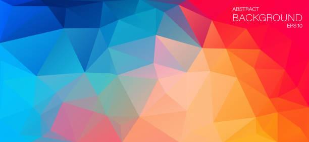 ilustraciones, imágenes clip art, dibujos animados e iconos de stock de fondo plano de color brillante con triángulos - fondos coloridos