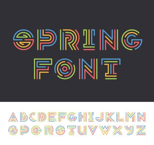 stockillustraties, clipart, cartoons en iconen met heldere kleur lijn geometrische latijns lettertype - parallel
