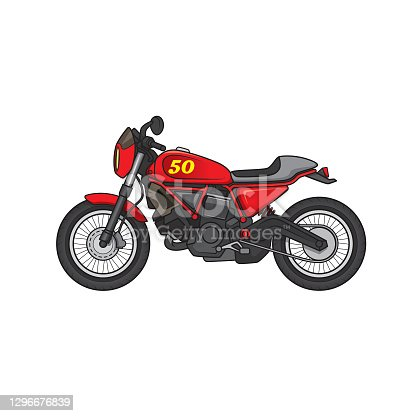 istock Bright color Off-road racing motorbike vehicle cartoon. For coloring page, children book. 1296676839