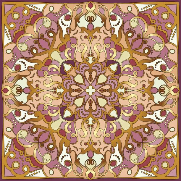 helle farbenmuster im orientalischen stil. - pashminas stock-grafiken, -clipart, -cartoons und -symbole