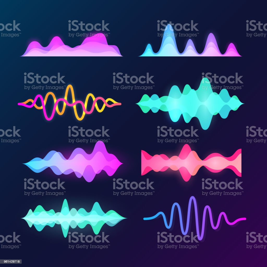Bright color sound voice waves isolated on dark background. Abstract waveform, music pulse and equalizer wave vector set vector art illustration