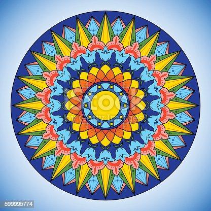 Bright color wheel pattern vector. Costa Rica traditional circle decorative ornament. Boho tribal colorful illustration.