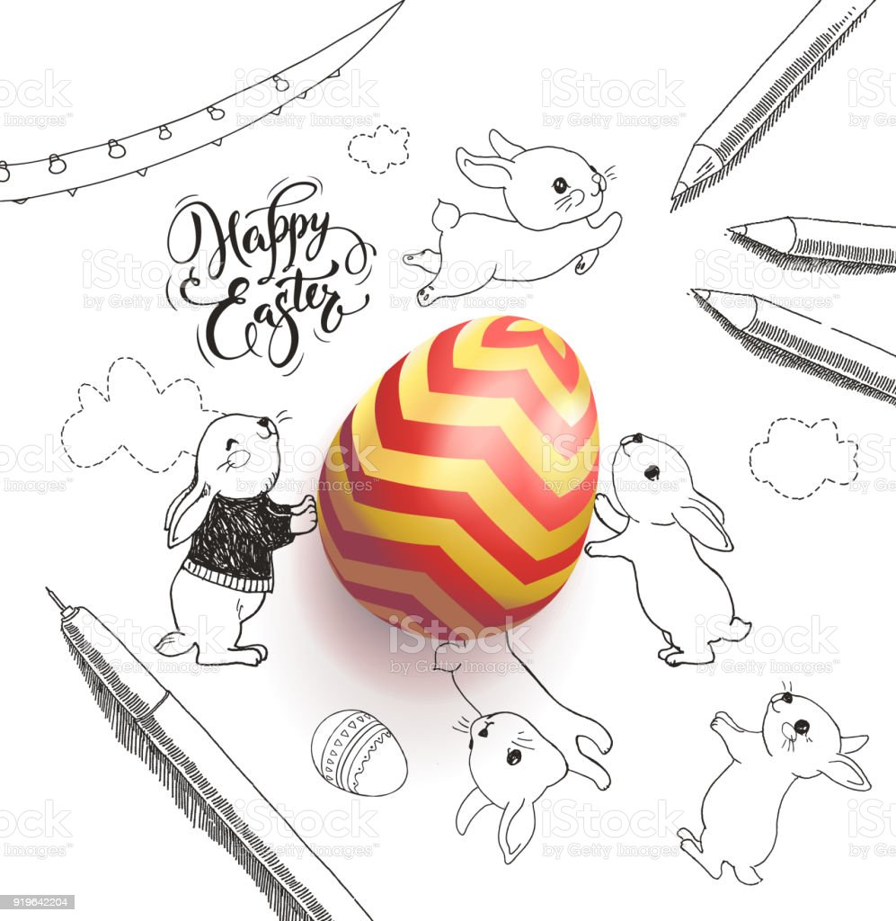 Bright colored egg surrounded by Happy Easter holiday wish handwritten with calligraphic font, funny little rabbits, clouds, pen, pencils, garland hand drawn with contour lines. Vector illustration. vector art illustration