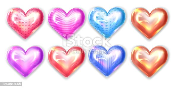 Bright colored hearts isolated on white background. Valentine's Day. Realistic 3D hearts. Glossy Red, Pink, Blue, Orange, Purple Hearts. Vector illustration
