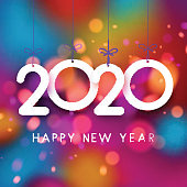 Bright colorful 2020 Happy New Year poster. Vector background.
