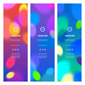 Bright Colorful Banners with Bokeh Lights