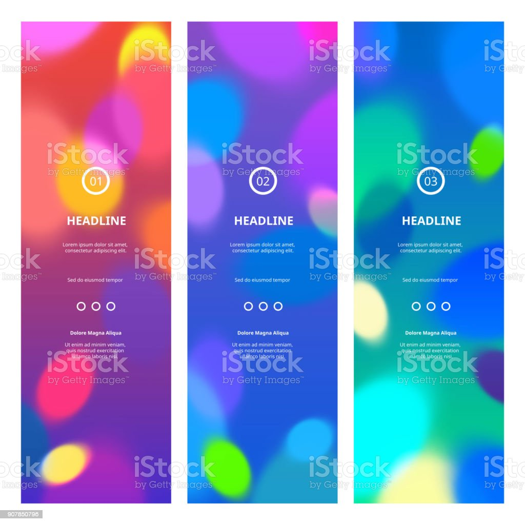 Bright Colorful Banners with Bokeh Lights vector art illustration