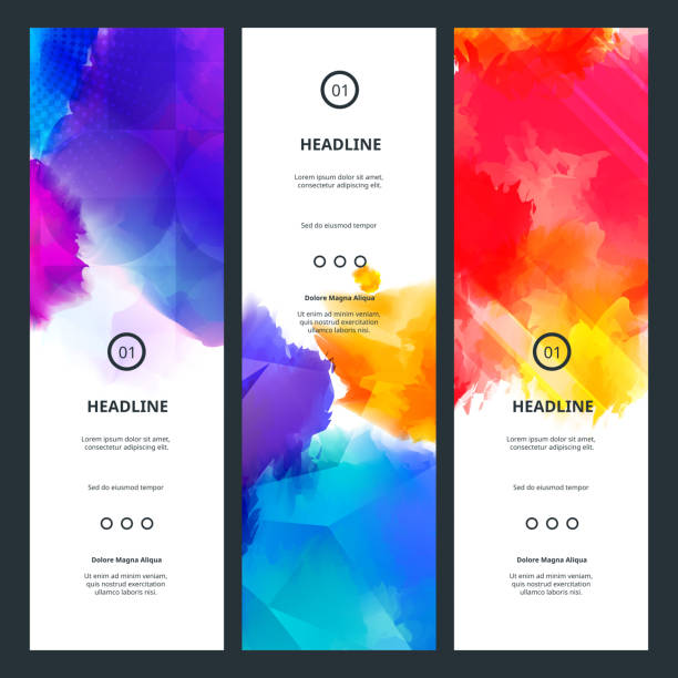 Bright Colorful Banners with Watercolor Splashes vector art illustration