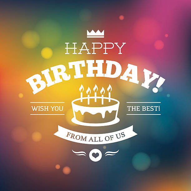 bright colorful birthday card design - happy birthday cake stock illustrations, clip art, cartoons, & icons