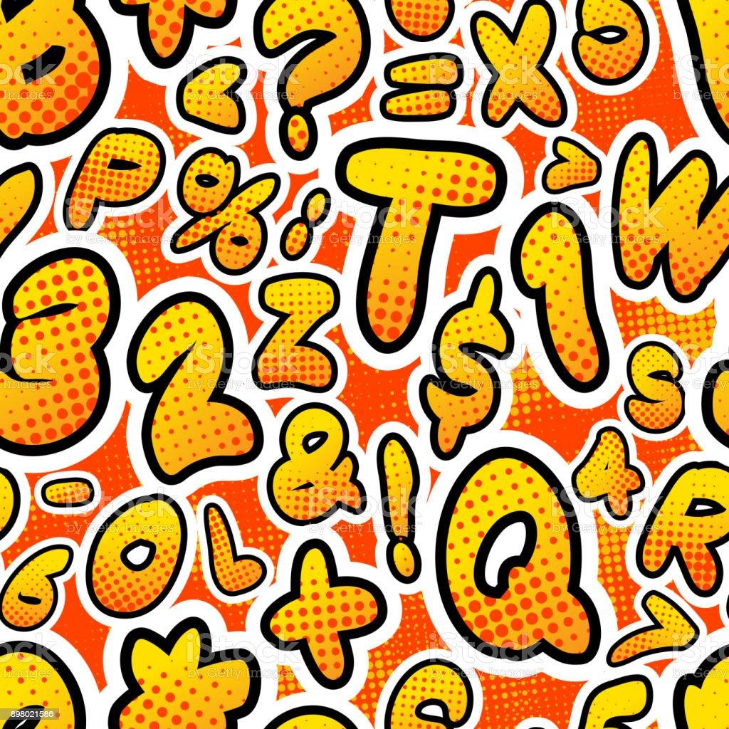 Letras de comics colorido brillante, patrón sin costuras en rojo - ilustración de arte vectorial